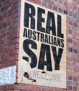 Real Australians say welcome poster