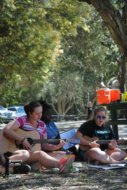Musicians playing guitars and ukulele at Brown Lake